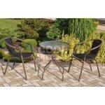 TOP 5. - Bistro stolek se skleněnou deskou a 2 židle z polyratanu KK-2345