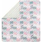 TOP 3. - Meradiso přehoz na postel Oboustranný světle růžová zelená patchwork 250 x 260 cm</p>