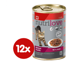 Nutrilove Cat chunks jelly BEEF 12 x 400g