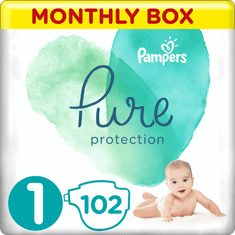 Pampers Pure Protection Plenky, Velikost 1, 102 ks, 2-5 kg AKCE