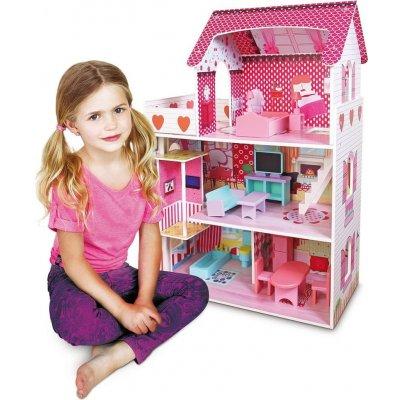 TOP 4. - Bino Dětský dřevěný domeček s nábytkem a LED