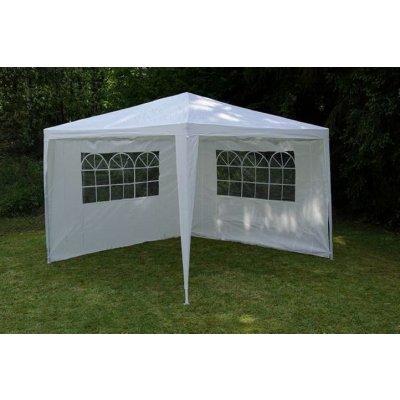 TOP 1. - Garthen 590 Zahradní párty stan bílý 3 x 3 m + 2 boční stěny