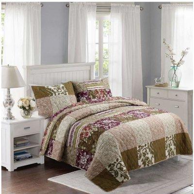 TOP 4. - Home Design přehoz na postel Bavlněný na dvoulůžko Patchwork 200 x 240 cm