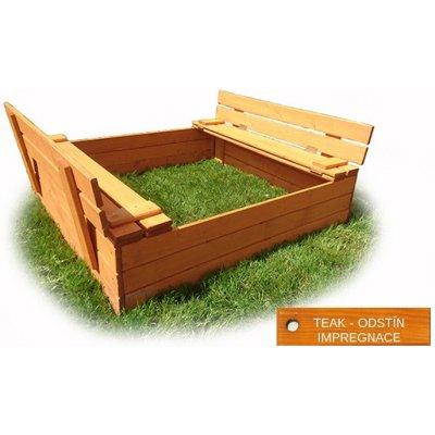 TOP 5. - Meblosek Dřevěné pískoviště s lavičkami 150 x 150 x 30 cm IMPREGNOVANÉ