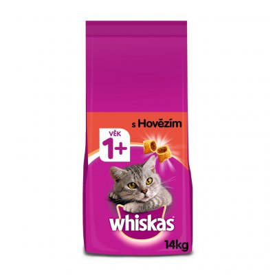 TOP 2. - Whiskas granule s hovězím pro dospělé kočky 14 kg
