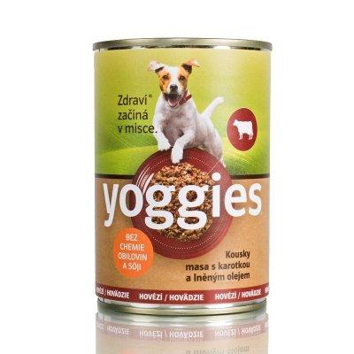 TOP 1. - Yoggies hovězí konzerva pro psy s karotkou a lněným olejem 400 g