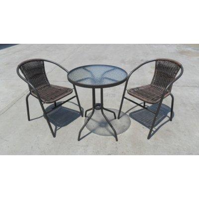 TOP 3. - Zahradní sestava NINA 3dílný kov+ratan+sklo