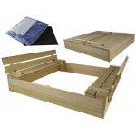 TOP 4. - DIP-MAR drevené pieskovisko s lavičkou prírodné 120 x 120 cm</p>