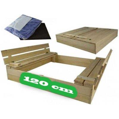 TOP 4. - DIP-MAR drevené pieskovisko s lavičkou borovica prírodné 120x120 cm